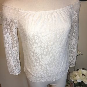Tops - white lace off the shoulder top
