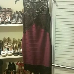 NWOT! Asos black lace and burgundy dress