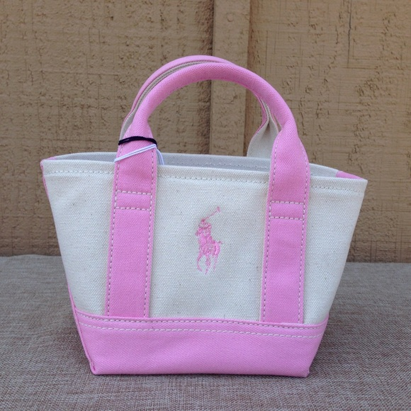 478e5b0f0eea Polo Ralph Lauren Pink and Cream Canvas Mini Tote
