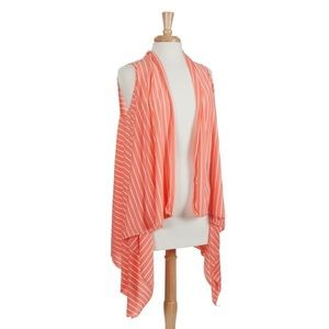 🏝👚Coral & White Striped Vest