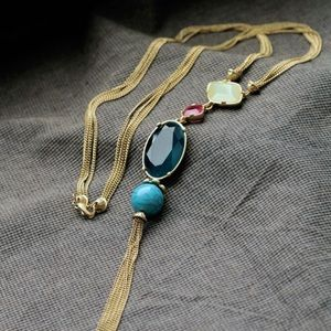 New gorgeous long chain necklace fruits color