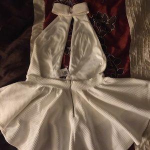 White halter top dress blouse