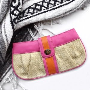 Pink church Handbags - Pink church straw clutch
