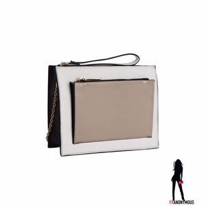 Melie Bianco Handbags - White and Taupe Clutch/Cross-body Bag