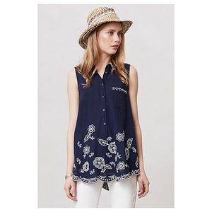 Anthropologie Windswept Blossoms Henley