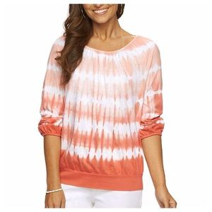 Tie-Dye Orange Blouson Top