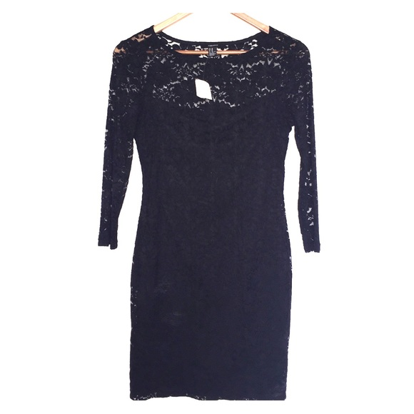cc2111a1d0c3 Forever 21 black lace 3 4 sleeve bodycon dress