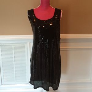Sz L Black Sequined Dress