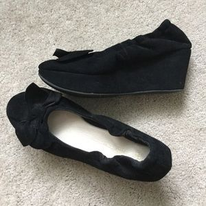 Black Platform Wedge Stretchy Suede Bow Herls