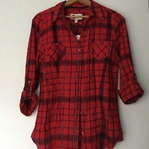 Button Down Red Plaid Juniors Collared Shirt