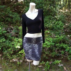 Black & White Leopard Print Bodycon Skirt