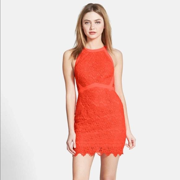 Neon Pink Bright Orange Lace Dress