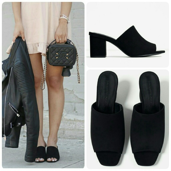 a9d95e5de8f Zara Black High Heel Sandals Backless Mules 6.5