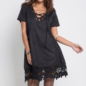 Southern Girl Fashion Dresses & Skirts - SUEDE DRESS Lace Up Crochet Floral Boho Mini Tunic