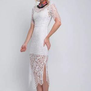 Southern Girl Fashion Dresses & Skirts - LACE DRESS Scalloped Midi Bohemian Open Back Mini