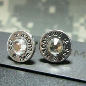 Jewelry - 9mm Silver Bullet casing stud earrings