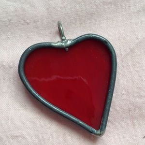 Vintage Jewelry - Red Glass Heart Charm - Shining LOVE ❤️