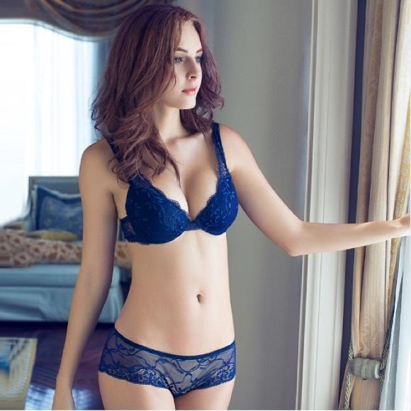 Lace Bra Panty Set V Neck Royal Blue 4a4ac2683