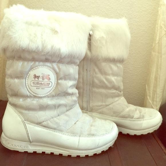 Coach Shoes | Coach White Boots | Poshmark
