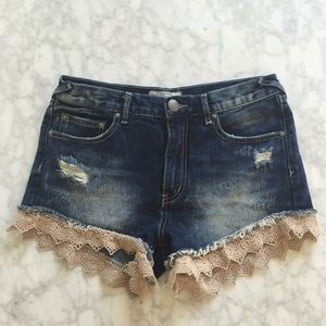Free People Crochet Denim Shorts