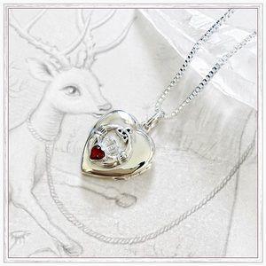Jewelry - Sterling Silver & Garnet Claddaugh Locket