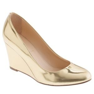 83 j crew shoes jcrew martina metallic gold wedges
