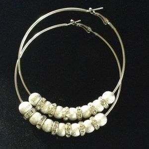 "Large 3"" Silver Hoops with Crystals"
