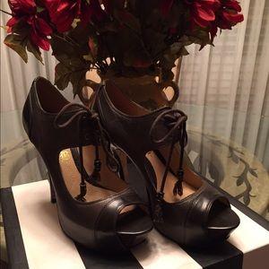 LAMB open toe lace up heels
