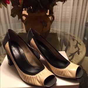 Nine West two tone stack heel