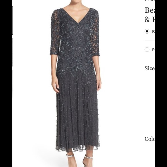 5bad3e8baf1 PISARRO NIGHTS DROP WAIST BEADED DRESS 10 SLATE. M 576deab8c6c7954814014f58