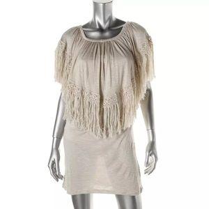 Elan Other - NWT⭐️ Beige Fringe Off The Shoulder Dress Cover-Up