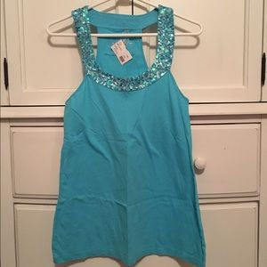 TWISTED HEART Tops - NWT Twisted Heart Blue Sequin Tank