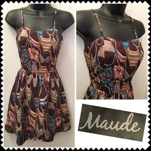 Maude Dresses & Skirts - Brown shoe print dress by Maude Sz Small