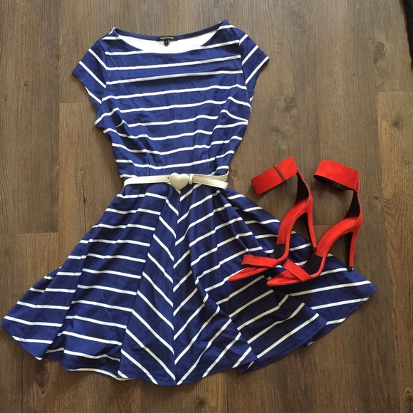 44c98b4b6d29 River Island Dresses | Navy Blue Striped Swing Dress | Poshmark