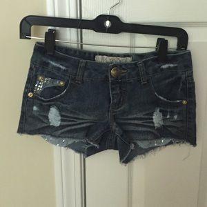 Freestyle Pants - Freestyle denim shorts with distressing, sequins