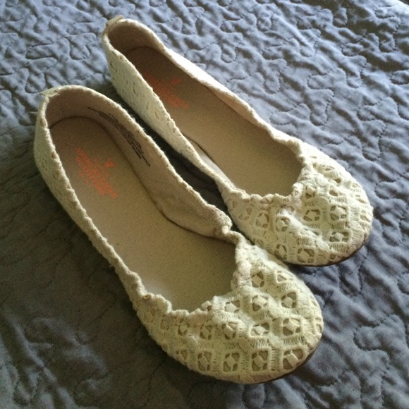 American Eagle Outfitters Shoes Aeo New Crocheted Cream Ballet