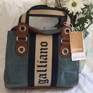 John Galliano Handbags - John Galliano small denim satchel