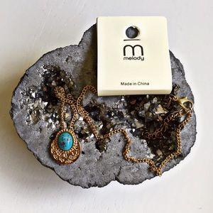 Boutique Jewelry - Vintage Stone Medallion Necklace