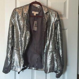 Michael Kors pewter sequin blazer size 12 NWT