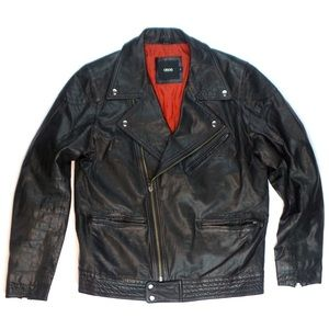 ASOS Leather Motorcycle Biker Jacket Black Small