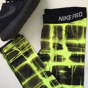 Nike Pants - Nike Pro Neon/Black Pants XL