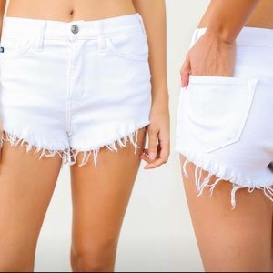 vici collection Pants - Stretchy white frayed shorts.  Washed not worn.