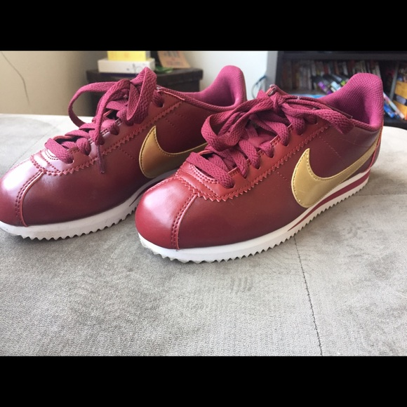 more photos e7a60 a8274 Burgundy gold leather cortez