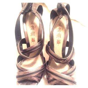 L.A.M.B metallic Zipper Heels size 9