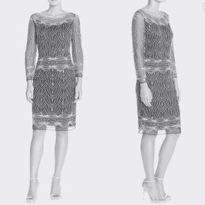 Pisarro Nights Dresses & Skirts - Pisarro Nights - Sexy Beaded Mesh Cocktail Dress