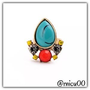 Boutique Jewelry - 14K Gold Turquoise Stone Crystal Adjustable Ring