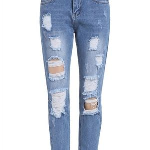 Denim - Distressed Boyfriend Jeans