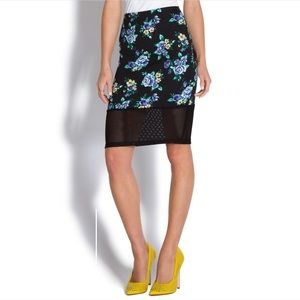 Cute Floral Midi Skirt with Black Mesh Panel