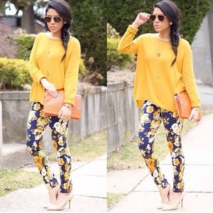 Choies Pants - Yellow, Blue & Orange Floral Pants