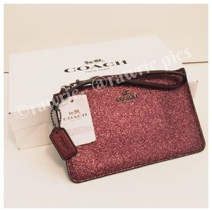 SALE New Coach metallic glitter wristlet gift box